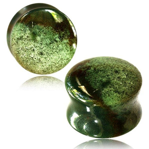 Moss Agate Organic Stone Plugs for stretched ears