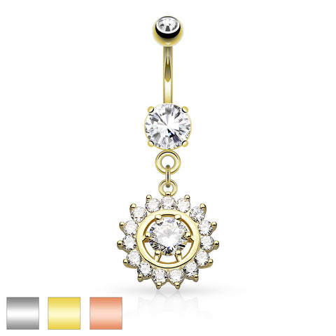 Claw Set CZ With CZ Center Dangle Belly Ring