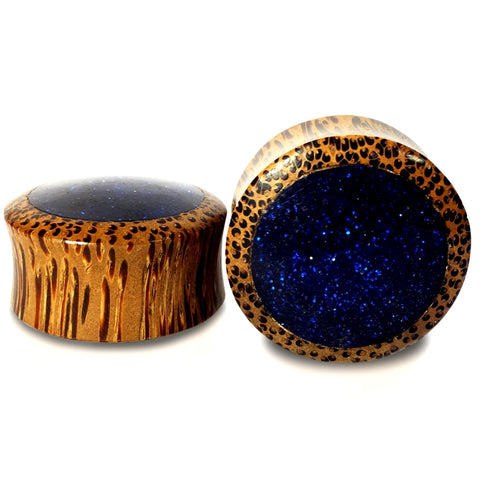 Night Sky Coconut Wood With Blue Glitter Inlay