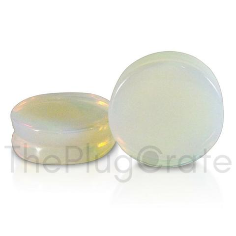 Opalite stone plugs for stretched ears