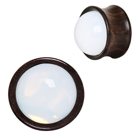 Ebony Wood Plugs With Opalite Stone Inlay