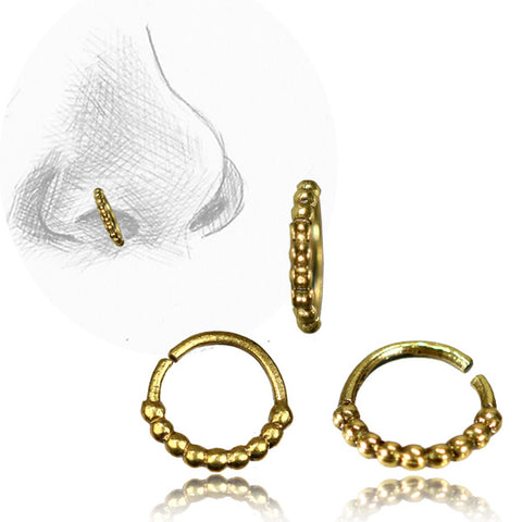 Premium Brass Beaded Nose Ring