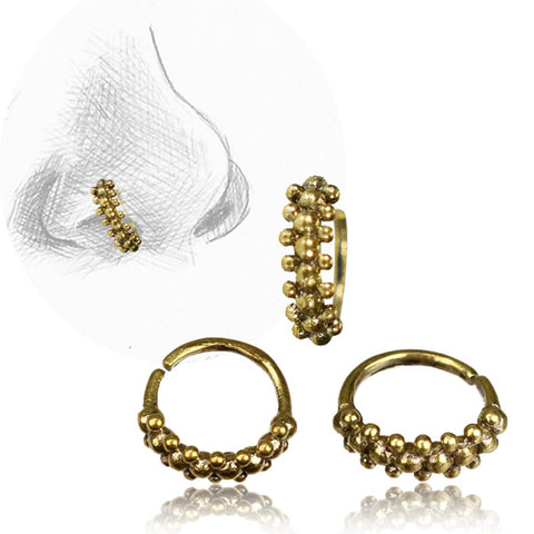 Premium Brass Double Beaded Nose Ring