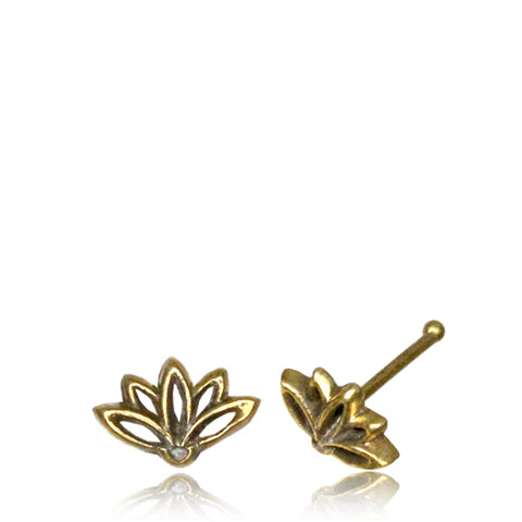 Premium Brass Lotus Flower Nose Bone