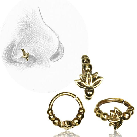 Premium Brass Nose Ring W/ Lotus Flower