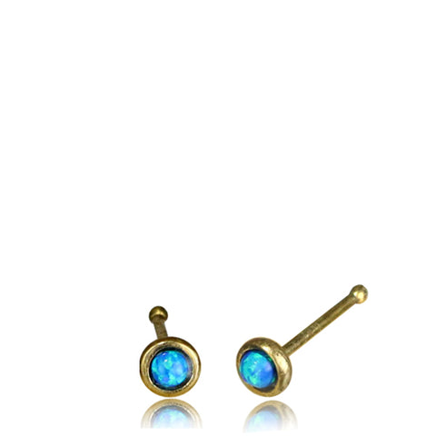 Premium Brass Blue Opal Nose Bone