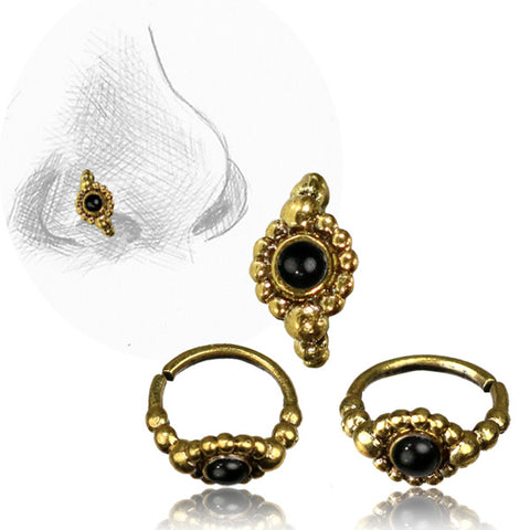 Premium Brass Nose Ring W/ Onyx Stone
