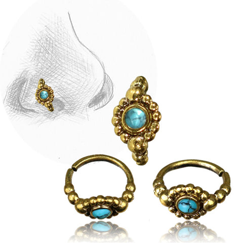 Premium Brass Nose Ring W/ Turquoise Stone