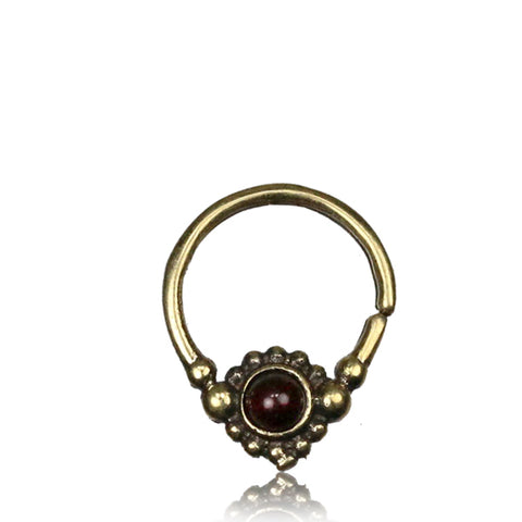 Premium Brass Septum w/ Dark Ruby