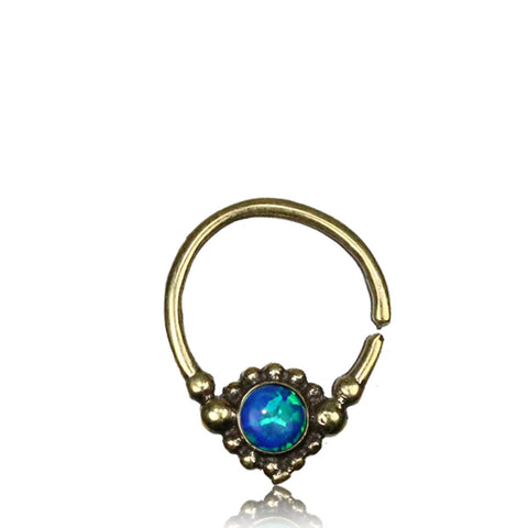 Premium Brass Septum w/ Blue Opal