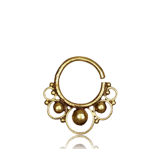 Premium Brass Tribal Double Circle Septum