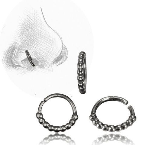 Premium Silver Beaded Nose Ring