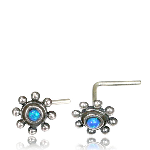 Premium Silver Nose Pin W/ Blue Opal L-Shaped