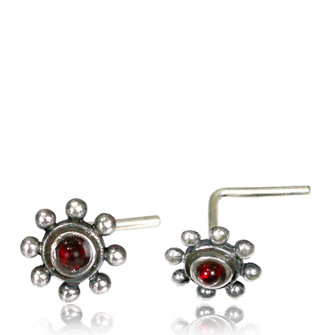 Premium Silver Nose Pin W/ Ruby L-Shaped