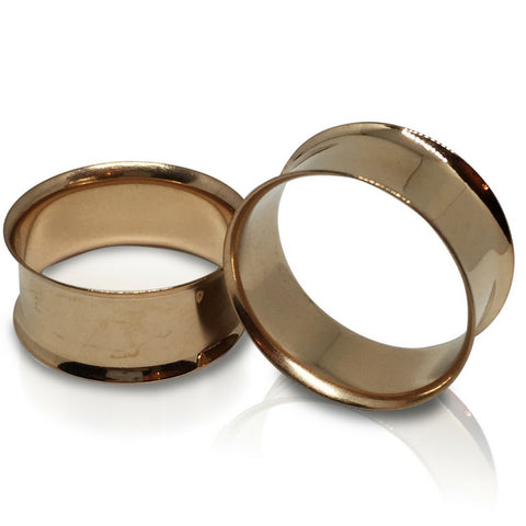Double Flared Rose Gold IP Steel Tunnels