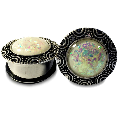 Steel Tribal Plugs With Faux Opal Inlay