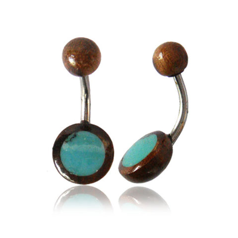 Belly Ring With Tamarind Wood and Turquoise Inlay