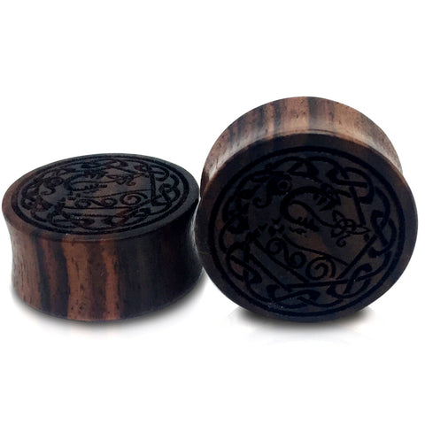 Engraved The Viking Ship Drakkar Sono Wood Plugs