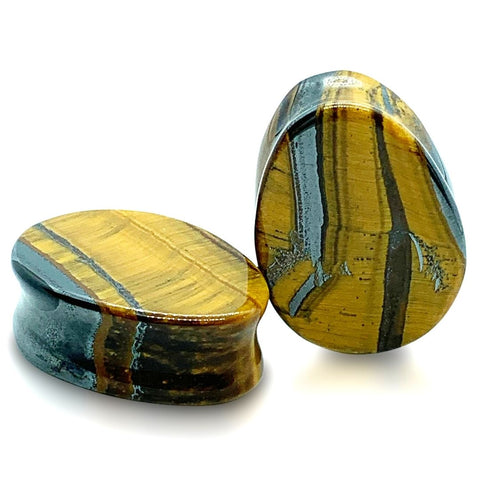 Tigers Eye Premium Stone Teardrop Plugs