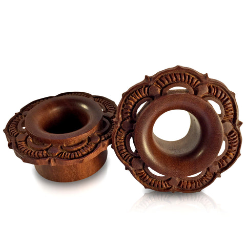 Carved Tribal Flower Eyelets on Sawo Wood
