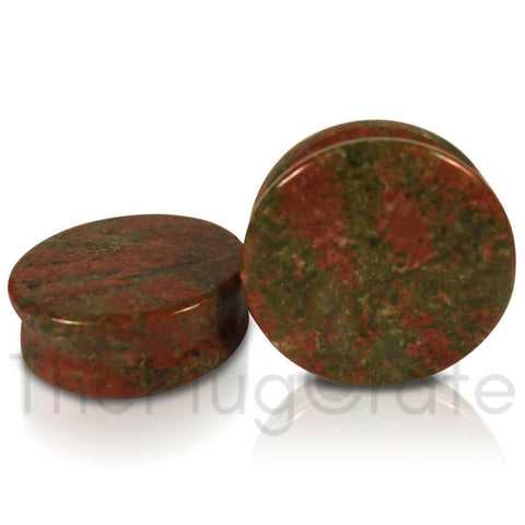 A pair of unakite stone plugs for stretched ears