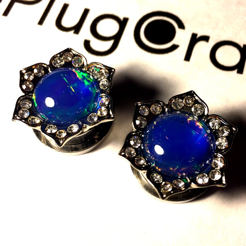 *CLEARANCE* Steel Flower With Opal Plugs - 16mm/5/8""