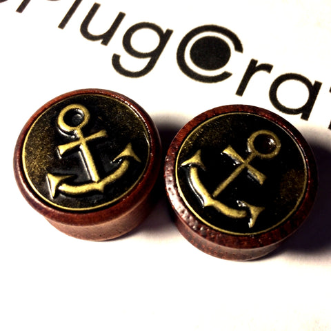 *CLEARANCE* Sono Wood With Brass Anchor Inlay Plugs