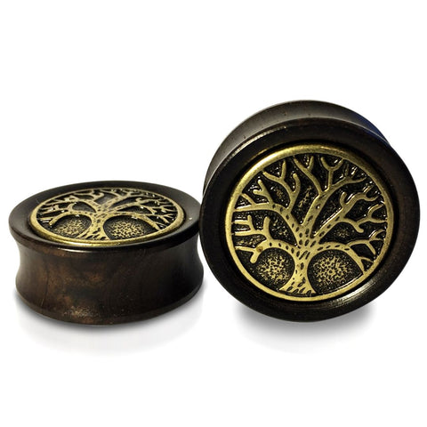 Ebony Wood With Brass Viking Tree of Life Plugs