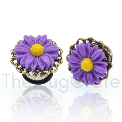 Purple Flower Steel Plugs