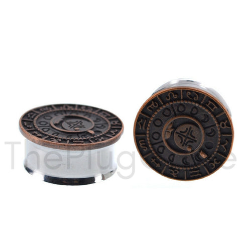 Burnished Rose Gold Zodiac Steel Plugs