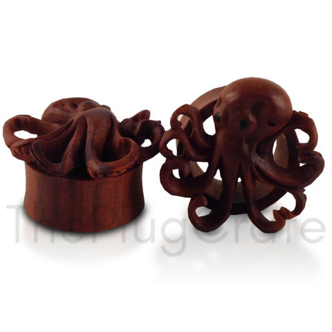 Bali Hand Carved Saba Wood Octopus Plugs