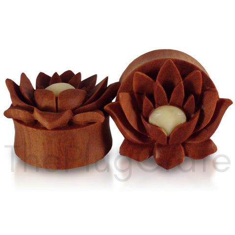 Bali Hand Carved Saba Wood Lotus Flower Plugs
