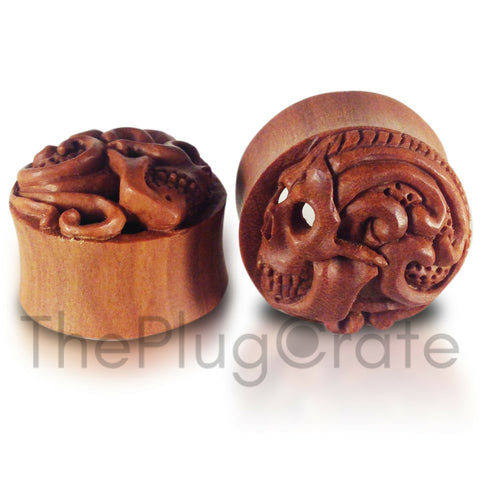 Bali Hand Carved Sugar Skull Plugs on Sawo Wood