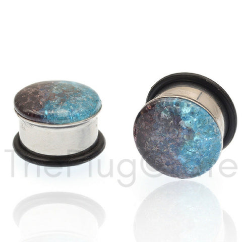 Arctic Ice Blue Steel Plugs