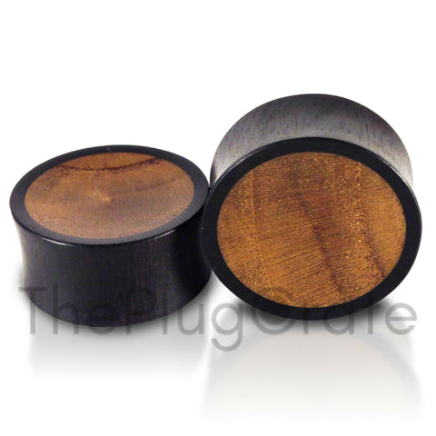 Areng Teak Wood Inlay Concave Plugs