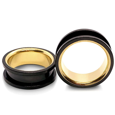 Premium Black And Gold Steel Screw Fit Tunnels