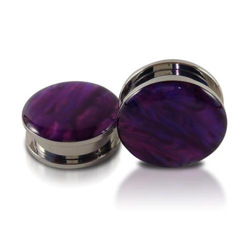 Purple Mist Oil Drop Steel Plugs