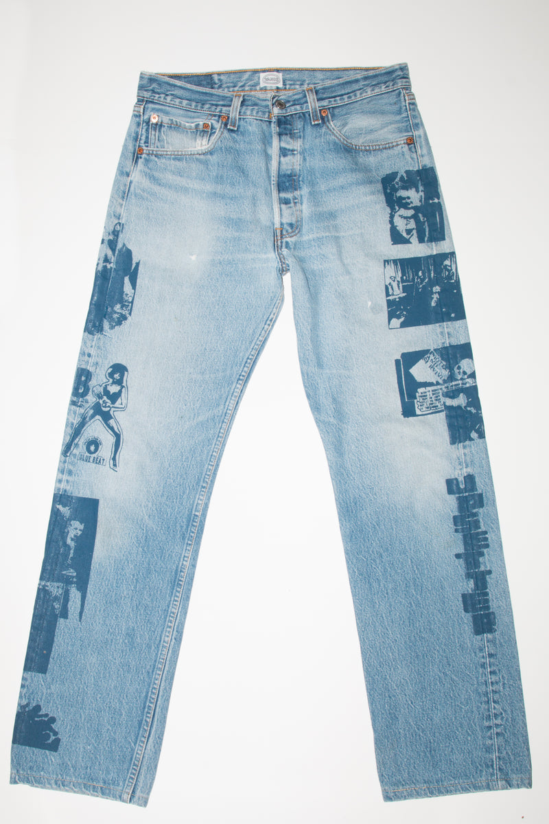 HAND PRINTED UPSETTER JEANS / SIZE 32