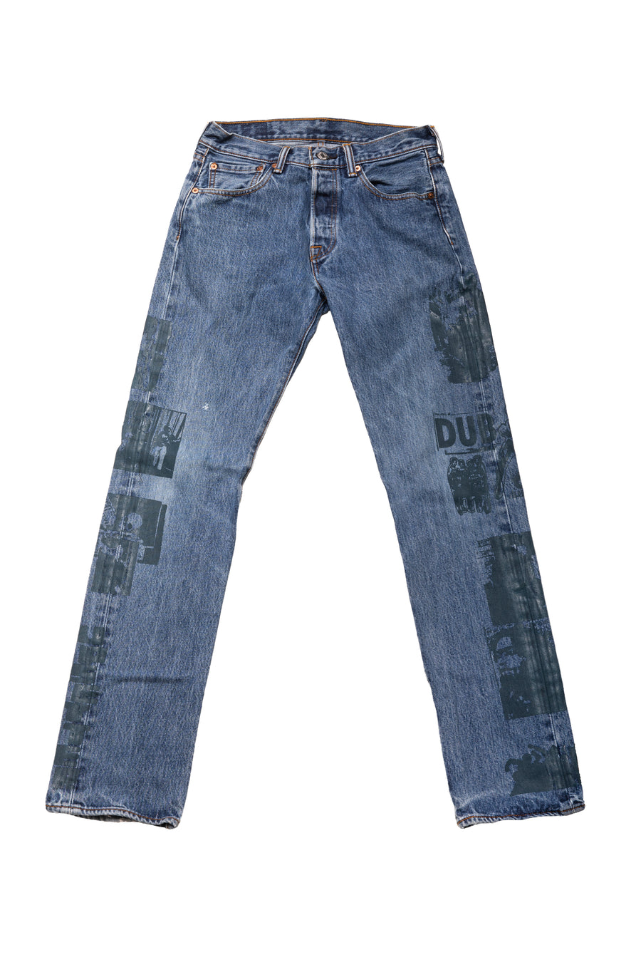 Hand Printed Upsetter Jeans /  Size 28 x 32