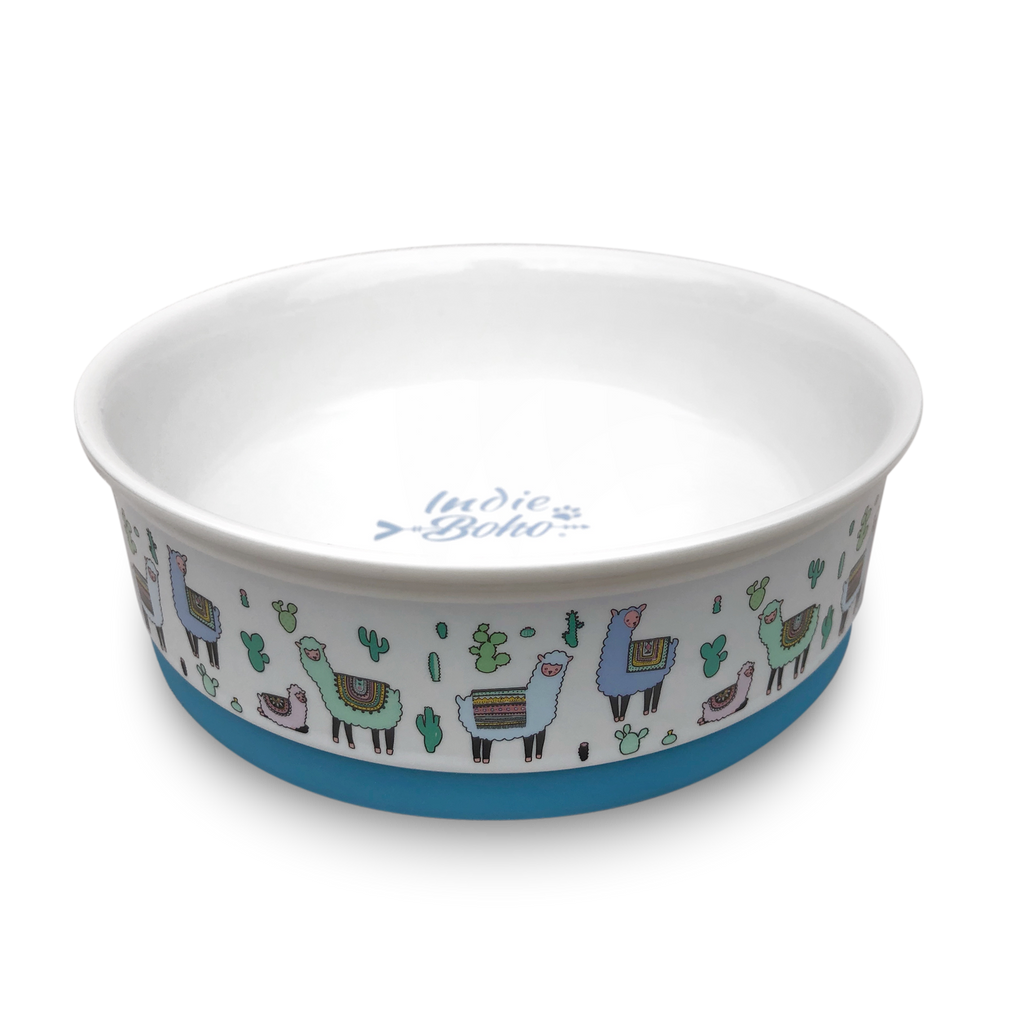 Alpaca Family Designer Dog Bowl Set