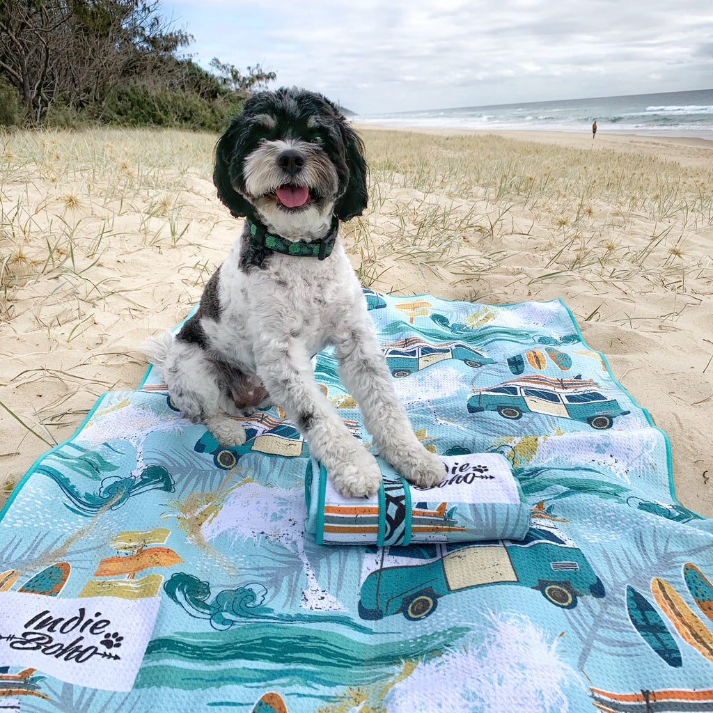 Pet travel towel in Byron Surf
