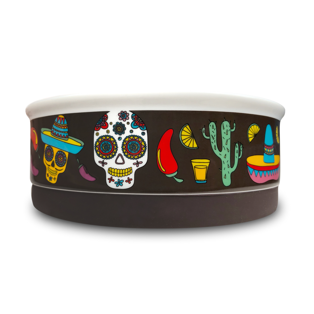 Mexican Skulls Dog Bowl