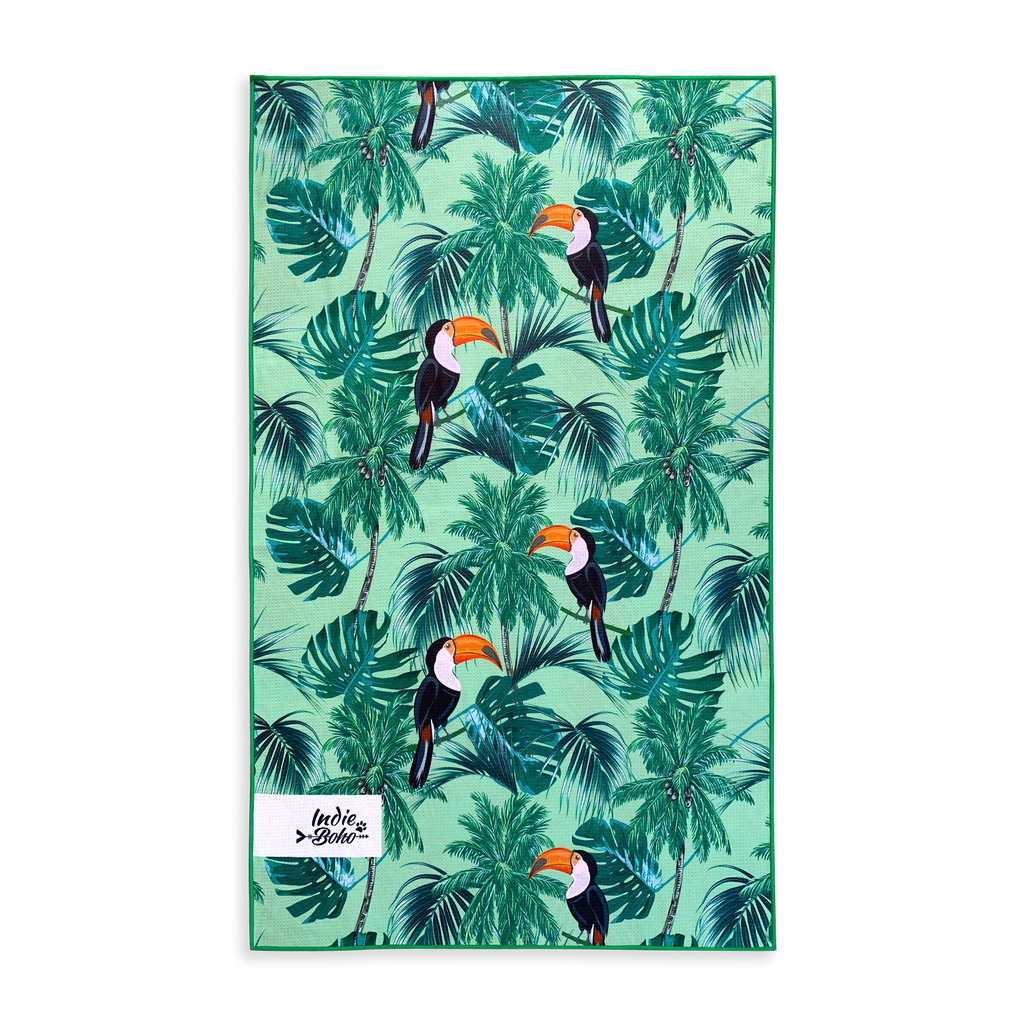 dog beach towel in tropical leaves toucans
