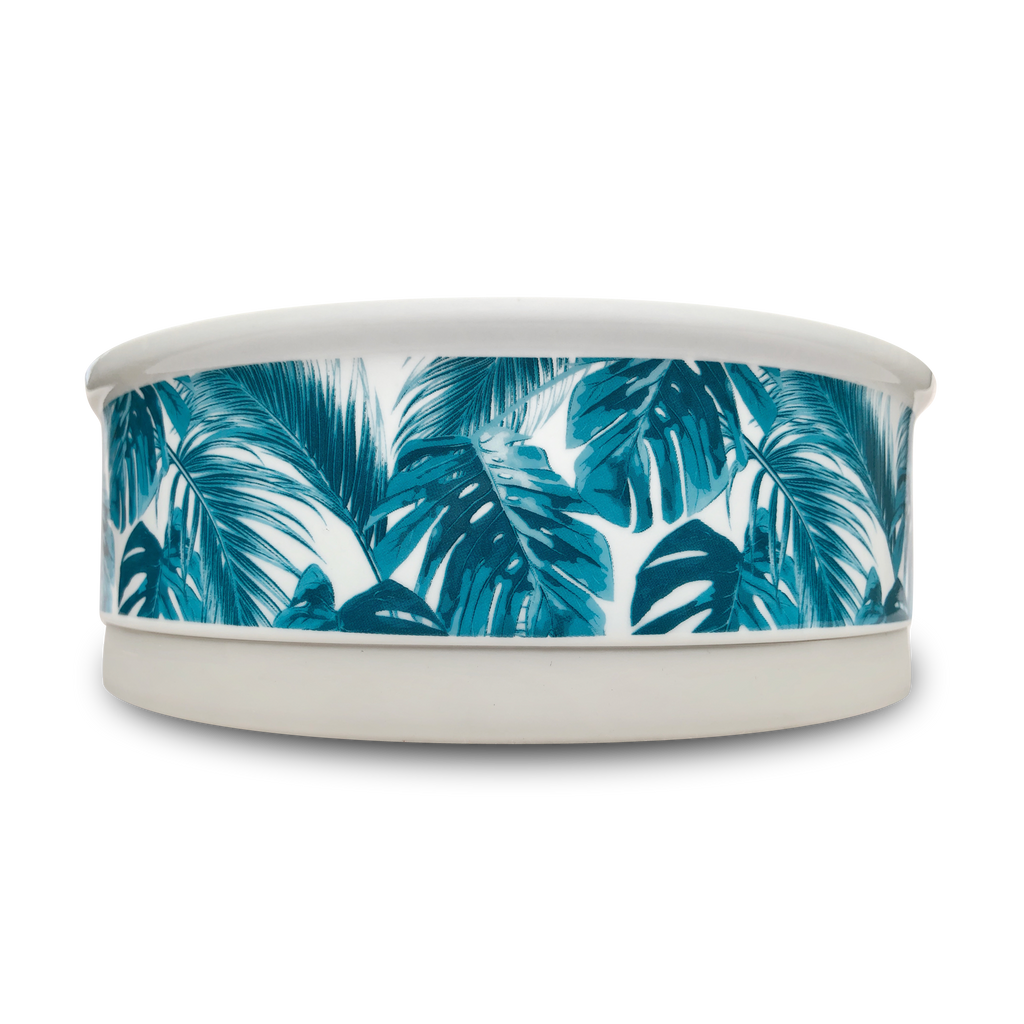 Tropical Leaves Designer Dog Bowl Medium
