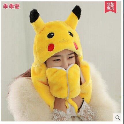 lovely pokemon pikachu plush hat with gloves – Forte Store 86e65fadfdd