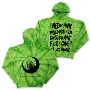 "Sinners are Winners ""Zero Fucks"" Neon Green Hoodie"