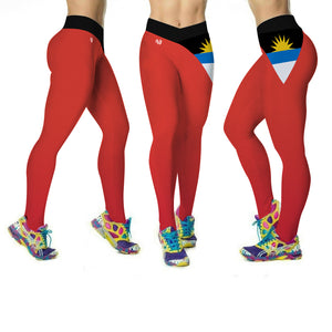 Antigua Flag Printed Leggings | Island Printed Leggings Caribbean Clothing