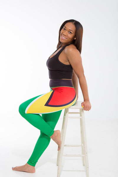 Guyana Flag Printed Leggings | Island Printed Leggings Caribbean Clothing