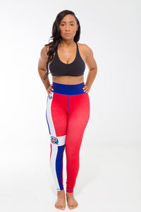 Dominican Republic Flag Printed Leggings | Island Printed Leggings Caribbean Clothing