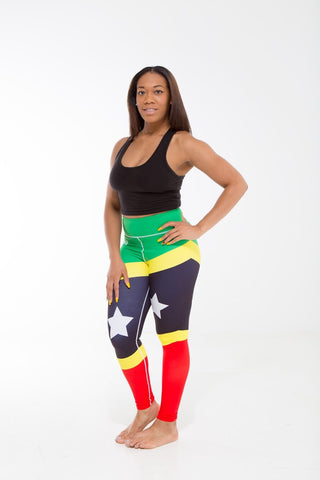St. Kitts and Nevis Flag Printed Leggings | Island Printed Leggings Caribbean Clothing